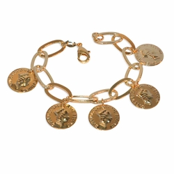 "1-0969-e9 British Coins Charm Bracelet. 8"" length. 18mm coins."
