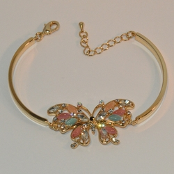 "1-0974-e6 Gold Plated Beautiful Butterfly Bangle Cuff Bracelet. 7.5""-8"" adjustable length. 4mm curved bar."