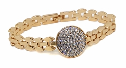 1-0975-f9 18kt Brazilian Gold Plated Fancy CZ Cricle Bracelet.7.5 inches, Circle 20mm, Band width 9mm.