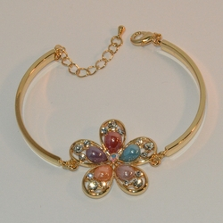 "1-0976-e6 Gold Plated Beautiful Multicolor Flower Bangle Cuff Bracelet. 7.5""-8"" adjustable length. 4mm curved bar."