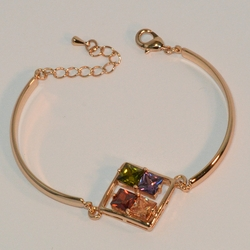 "1-0977-e6 Gold Plated Beautiful Multicolor Square CZ's Bangle Cuff Bracelet. 7.5""-8"" adjustable length. 4mm curved bar."