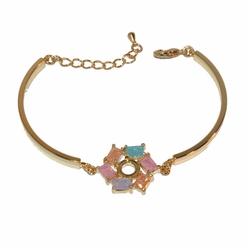 1-0977-f1 Gold Plated Ice Stone Bracelet, adjustable length,
