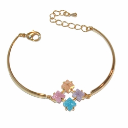 1-0977-f21 Gold Plated Ice Stone Bracelet, adjustable length,