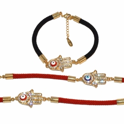 "1-0978-e10 Gold Plated Hamsa with Evil Eye Rope Bracelet. 7"" to 8"" adjustable length. 1.25x17mm hand. 3 colors available."
