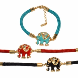 "1-0979-e10 Gold Plated Colored Elephant Rope Bracelet. 7"" to 8"" adjustable length. 20mm elephant. 3 colors available."