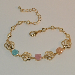 "1-0976-e16 Gold Plated Sparkling CZ's Bracelet. 7.5""-8.5"" adjustable length. 10mm wide."