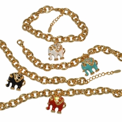 "1-0980-e10 Gold Plated Colored Elephant Charms Bracelet. 7"" to 8"" adjustable length, 22mm elephants. 4 Colors Available."