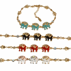 "1-0981-e10 Gold Plated Colored Elephants Bracelet. 7"" to 8"" adjustable length, 13mm elephants. 4 Colors Available."