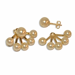 """1-1001-e10 Pearl Studs with behind the ear Pearl Shield Earrings. 8mm Stud, 3/4 """" length."""