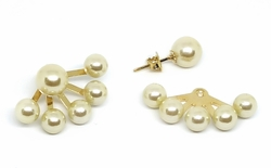 1-1001-f11 18kt Brazilian Gold Layered Pearl Shield Earrings. 8mm Pearl Knob. Shield goes behind ear lobe with 6mm pearls.