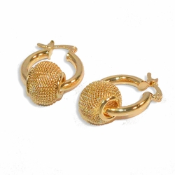 1-1004-e9 Classic Hoop Earrings with Mesh ball Charm. 3x20mm hoop and 13mm