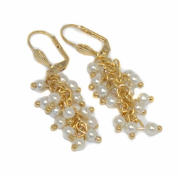 1-1006-D1 Dangling Pearl Earrings