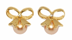 1-1011-D1 Peach Pearl Earrings