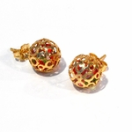 1-1011-f2 18kt Gold Layered Caged CZ Knob Earrings. Loose Multicolored CZ inside. 12mm,