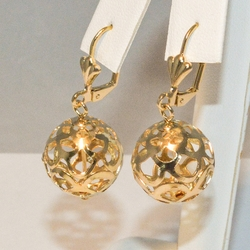 1-1016-e3 Filagree Balls Drop Earrings