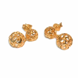 1-1022-e8 Double Filigree Ball Earrings. Top ball is 7mm, bottom ball 9mm. .75 inches in length.