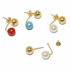 1-1022-f3 18kt Brazilian Gold Layered Invisible Drop Colored Pearl Earrings with Gold Knob.