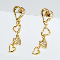 1-1029-D1 Dangling Hearts Earrings