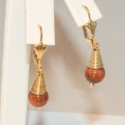 1-1037-e3 Golden Sand Stone (Venturina) Dro Earrings
