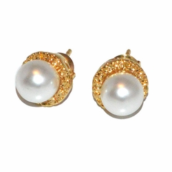 1-1045-D1 Pearl Stud Earrings 8mm
