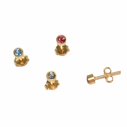 1-1046-e12 Gold Layered Stud Crystal Earrings. 4mm. 3 colors.