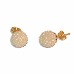 1-1056-e8 Pearl Pave Stud Earring. 10mm.