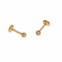 1-1063-e12 Gold Layered Stud Knob Earrings for Babies with Safety Cap Back for No Pinch or Poke. 3mm.