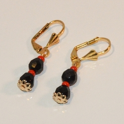 """1-1070-e7 Gold Plated Azabache Earrings with Tulip Cap End. 1.5"""""""