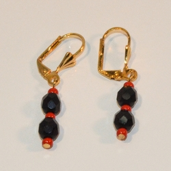 """1-1070-e8 Gold Plated Azabache Earrings with Red Bead End. 1.5"""""""