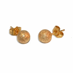 1-1077-e9 Gold Plated Gold Dust Knob Earrings. 8mm.