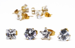 1-1084-1088-f10 18kt Brazilian Gold Layered Set of 4 pairs (round, square, heart shaped & star shaped) of Cubic Zirconia Stud Earrings. Square-7mm, Round-8mm, Star-8mm, Heart-8mm.