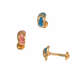 1-1126-e112 Gold Layered Sandals Stud Earrings for Babies with Safety Cap Back for No Pinch or Poke. 6mm. 2 colors