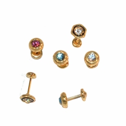 1-1126-e13 Gold Layered Crystal Stud Earrings for Babies with Safety Cap Back for No Pinch or Poke. 6mm. 4 colors