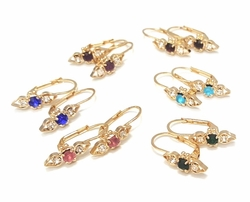 1-1135-f6 18kt Brazilian Gold Layered Simple Crystal Drop Earring with Colored Stone. 1 inch in length.
