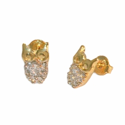 1-1143-1-e112 Gold Layered Two Tone Owl Stud Earrings. 9mm.