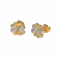 1-1143-e12 Gold Layered Two Tone Clover/Hearts Stud Earrings. 9mm.