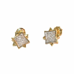 1-1144-e112 Gold Layered Two Tone Star Cubes Stud Earrings. 9mm.