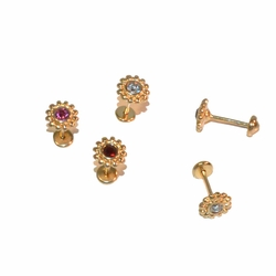 1-1146-e12 Gold Layered Flower Stud Earrings for Babies with Safety Cap Back for No Pinch or Poke. 6.5mm. 3 colors.