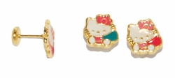 1-1148-D1 Kitty Earrings for Babies and Kids