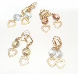 1-1222-f6 18kt Brazilian Gold Layered Heart and Colored Stone Drop Earrings. 2 inches in length.