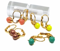 1-1148-f9 18kt Brazilian Gold Layered Colored Ball Earrings with French Hook. 7mm balls, 1/2 inch earring.