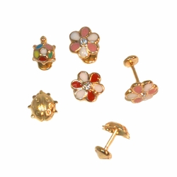 1-1150-e12 Gold Layered Stud Shapes Earrings for Babies with Safety Cap Back for No Pinch or Poke. 8mm. Choose style.