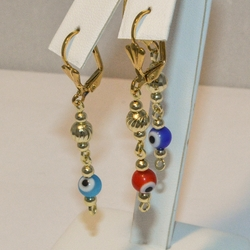 1-1152-e4 Evil Eye Long Earrings
