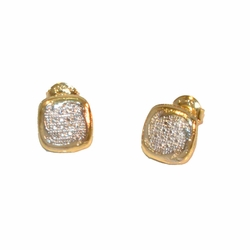1-1153-e12 Gold Layered Two Tone Square Stud Earrings. 9mm.