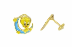 1-1155-D2 Little Yellow Bird Earrings for Girls
