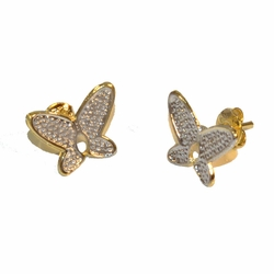 1-1155-e12 Gold Layered Two Tone Butterfly Stud Earrings. 14mm.