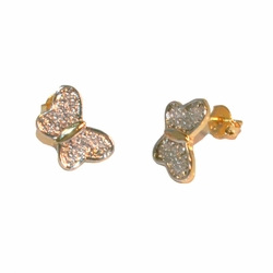 1-1155-e212 Gold Layered Two Tone Angled Butterfly Stud Earrings. 8mm.