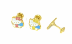 1-1156-D2 Little Cat Earrings for Girls