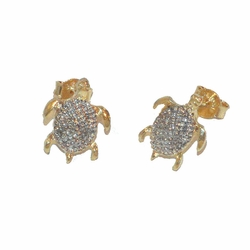 1-1156-e12 Gold layered, Two tone turtle earrings, 11mm,