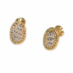 1-1165-e12 Gold Layered Two Tone Oval Stud Earrings. 9mm.